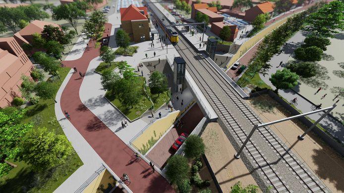 Bij de aanleg van de spooronderdoorgang bij het station in Rijen is ook een fietsviaduct (rode kleur) voorzien voor snelfietsroute F58 tussen Breda en Tilburg.