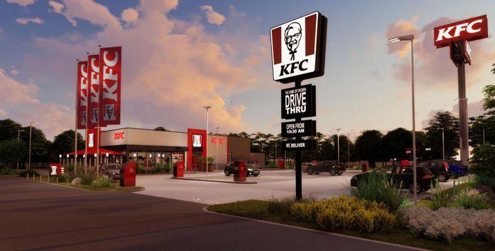 Een impressie van het fastfoodrestaurant dat KFC wil bouwen aan de Eindhovenseweg Zuid/Materiaalweg in Best.