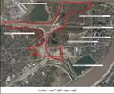 De plaatsen waar bodemmonsters zijn genomen. Linksboven de 3M-fabriek. In rood het gebied waar aan de nieuwe rondweg wordt gewerkt.