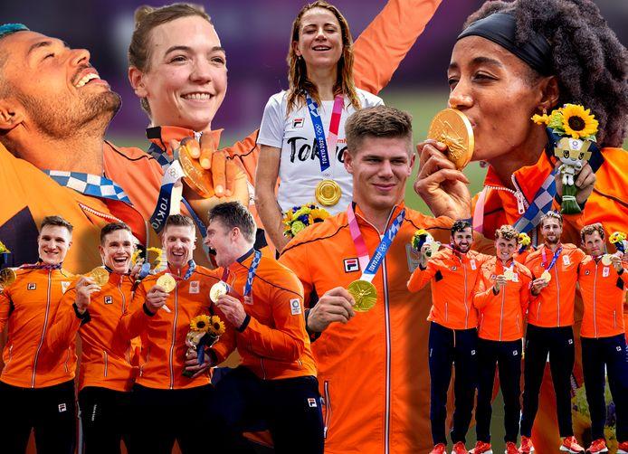 Een aantal gouden medaillewinnaars van TeamNL: de baanwielrenners, Kiran Badloe, Shanne Braspennincx, Annemiek van Vleuten, Niek Kimmann, de roeiers van de dubbelvier en Sifan Hassan.