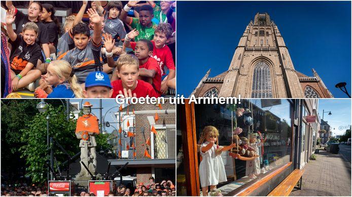 Groeten uit Arnhem. Met de klok mee vanaf linksboven: Ome Joops Tour, de Eusebiuskerk, het Modekwartier in Klarendal en Oranjefans de Jansplaats.