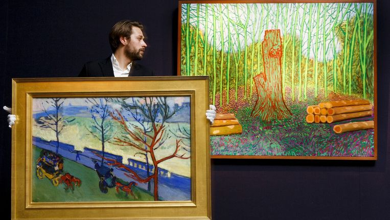 Werken van André Derain (vooraan) en David Hockney werden onlangs nog voor miljoenen euro's geveild bij Sotheby's. Beeld BELGA