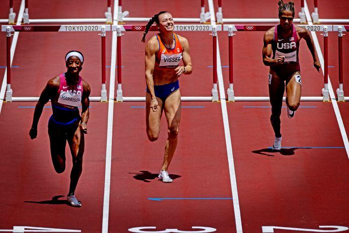 Nadine Visser greep net naast een medaille in de finale van de 100 meter horden.