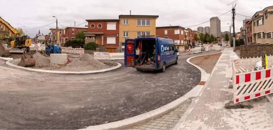 Aménagement du giratoire de la rue de la Boverie, à Seraing.