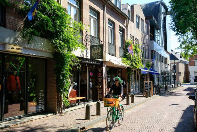 Bergstraat nieuwe stijl met vlaggen en geveltuinen en borden van de winkels op straat.