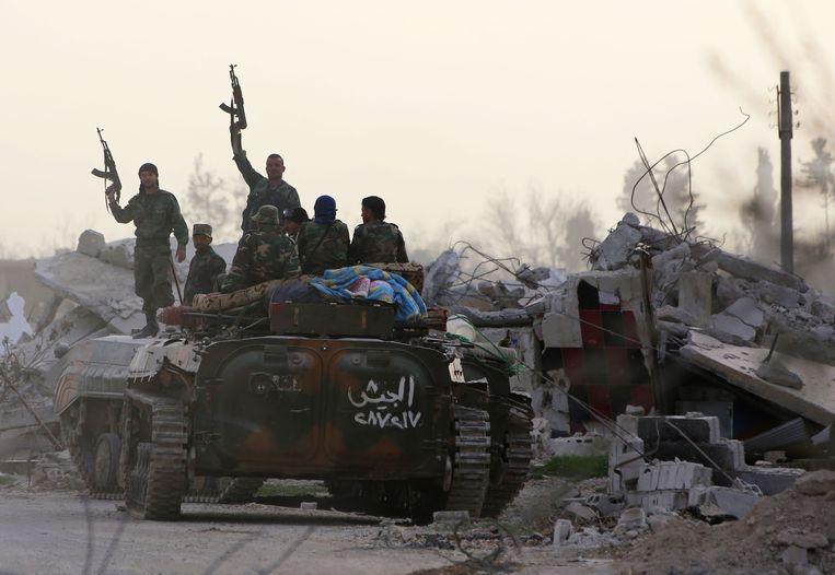 Grondtroepen van het Syrische leger hebben dit weekend hun opmars voortgezet in Oost-Ghouta. Beeld AFP