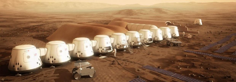 Schets van een nederzetting op Mars, zoals Mars One zich dat voorstelt.