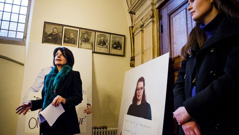 Nationaal Rapporteur Corinne Dettmeijer tijdens de opening van een tentoonstelling in de St. Bavokerk over seksueel geweld vorig jaar december. Beeld anp