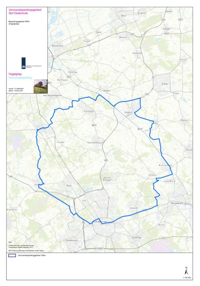 Het vervoersbeperkingsgebied rondom het pluimveebedrijf in Sint-Oedenrode.