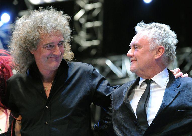 Roger Taylor (r.) en Brian May van Queen. Beeld epa