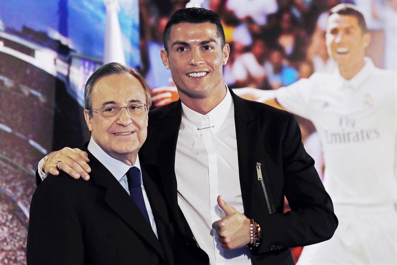 Le président du Real, Florentino Perez, aux côtés de Cristiano Ronaldo.