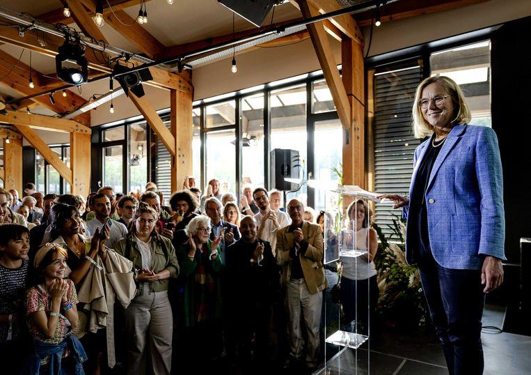 Partijleider Sigrid Kaag van D66 tijdens een bijeenkomst met partijleden.  Beeld ANP