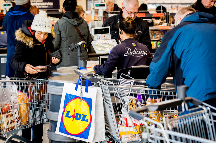 Kerstdrukte bij supermarkt Lidl vorig jaar.