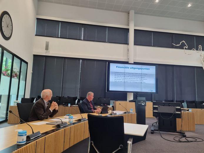 Gemeentesecretaris Henk Mensink (l) en wethouder Frank den Brok presenteren de kadernota.