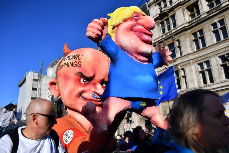 Anti-Brexit-demonstranten zaterdag in Londen. Beeld REUTERS