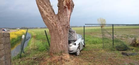 Auto raakt van Van Heemstraweg, rijdt door sloot en knalt op boom: twee zwaargewonden