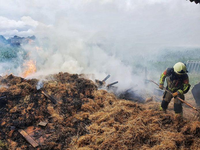 De brandende hooistapel in Diessen.