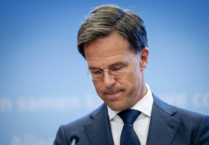 Premier Mark Rutte tijdens de persconferentie van afgelopen dinsdag.
