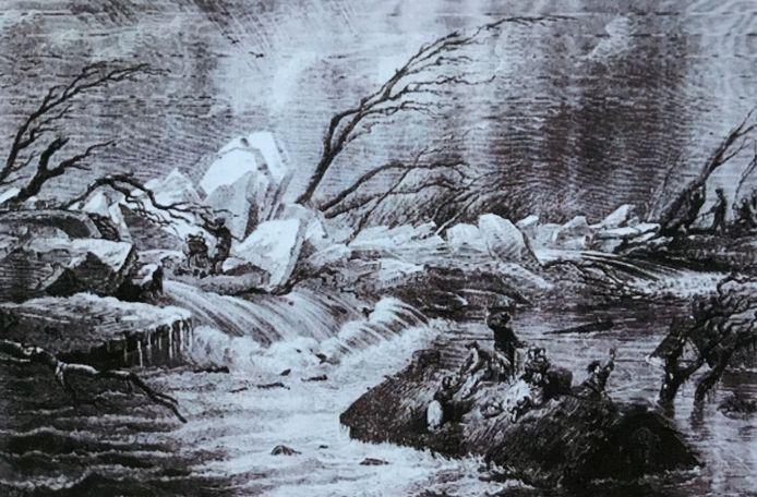Wanhopige mens op het dak van hun boerderijtje tijdens de watersnood van 1861