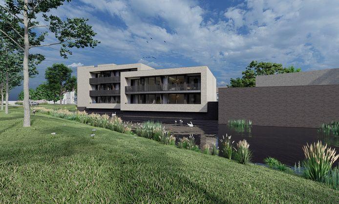Een impressie van het toekomstige appartementencomplex aan de Wijnruitstraat in Waalwijk.