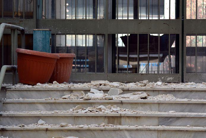 Schade aan een gerechtsgebouw in Larissa.