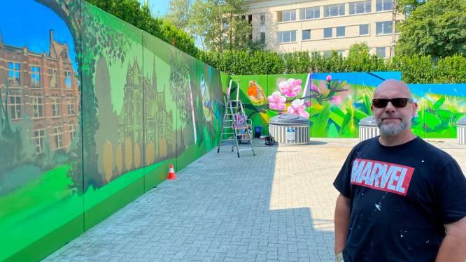 """200 m² graffiti om binnenplein WZC Markizaat op te fleuren: """"Inspiratie was niet ver te zoeken"""""""