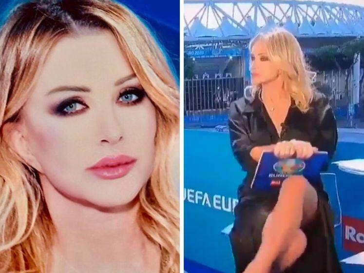 """Une présentatrice italienne se la joue """"Basic Instinct"""" en direct à la télévision"""