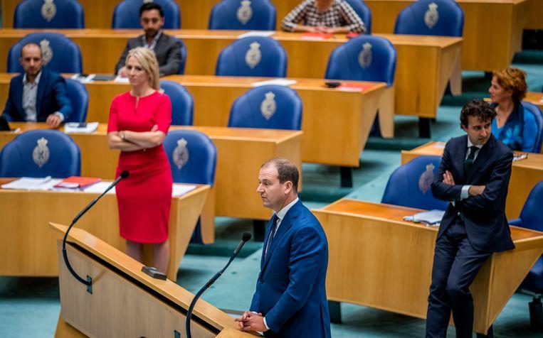 Lilian Marijnissen (SP), Lodewijk Asscher (PvdA) en Jesse Klaver (Groenlinks) tijdens de Algemene Beschouwingen in de Tweede Kamer. Beeld Freek van den Bergh / de Volkskrant