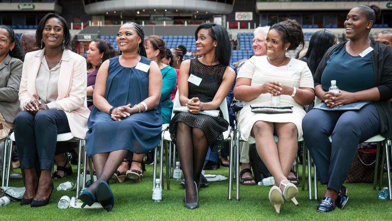 Stedman zette gisteren in de Arena de vrouwen van MaDi in het zonnetje Beeld Dingena Mol