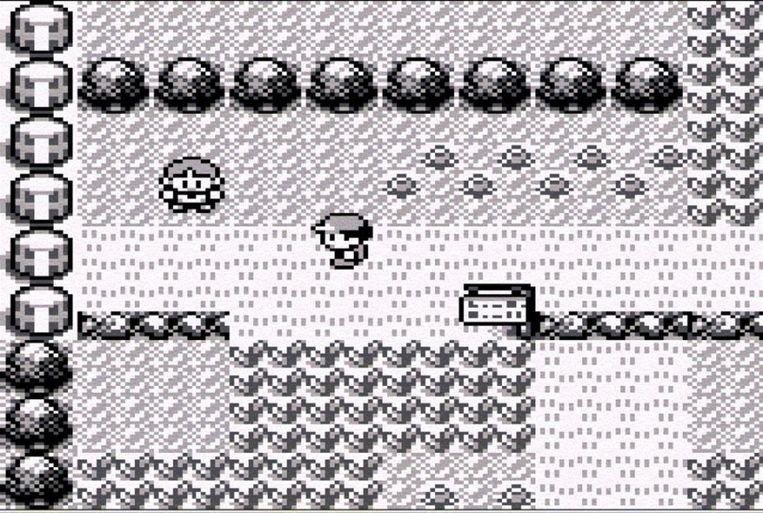 Pokémon Red & Blue  op de gameboy.  Beeld