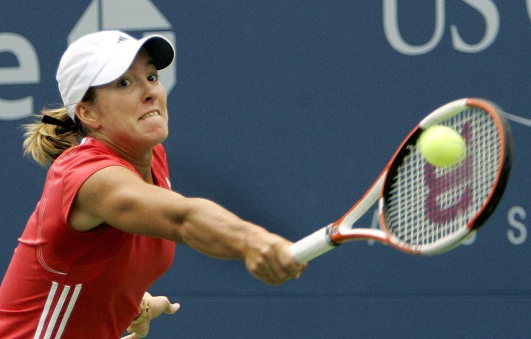 Justine Henin in 2005 tijdens de US-Open.  Beeld AFP