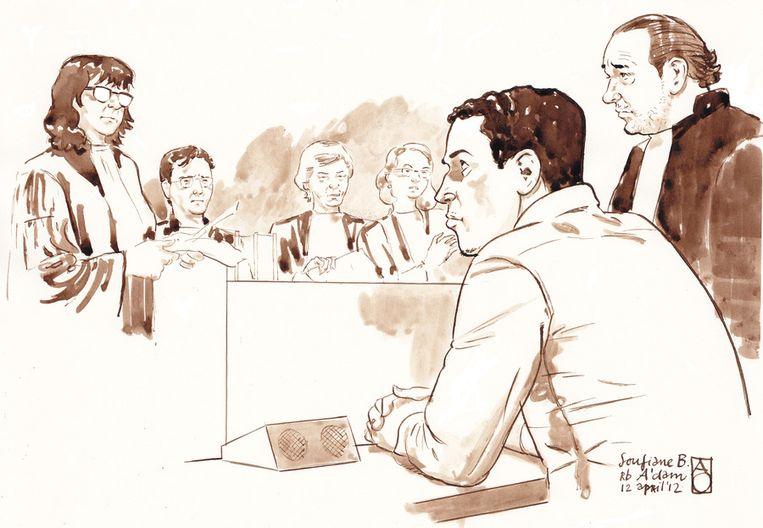 Verdachte Soufiane B. en zijn advocaat mr. Dijkers in de rechtbank tijdens de pro forma in de zaak Beeld ANP