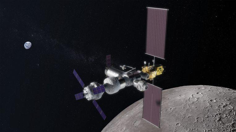 Onderdeel van het geplande Artemis-programma is Gateway (hier als computertekening), een bemand ruimtestation in een baan om de maan. Beeld Nasa
