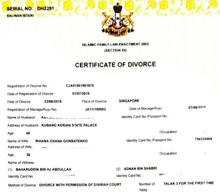 Het scheidingsdocument van Muhammad V en Oksana Voevodina