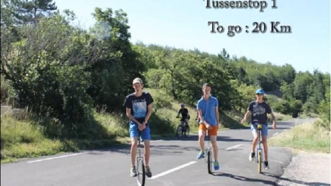 Drie broers halen top Ventoux op eenwieler