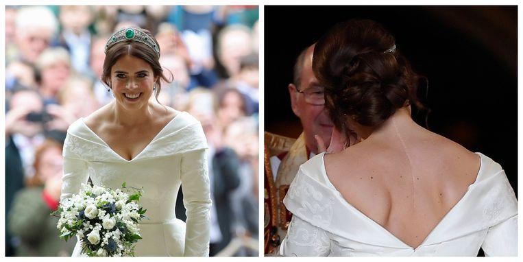Prinses Eugenie tijdens haar huwelijk met Jack Brooksbank op 12 oktober 2018 in de kapel van St. George in Windsor Castle.