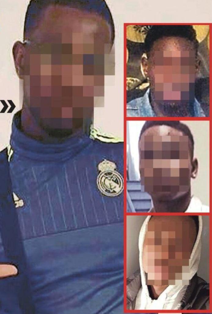 De vier mannen die verdacht worden van de groepsverkrachting van de Nederlandse toeristes. Mohamed S. (22) uit Antwerpen gaf de politie de namen van de drie andere betrokkenen.  Tijani D. (19) uit Temse, Eliel B. (20) uit Borgerhout en Lamine N. (20) uit Antwerpen.