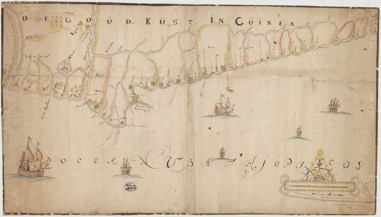 Carte de la Gold Coast en Guinée, 17e siècle. Image Archives nationales