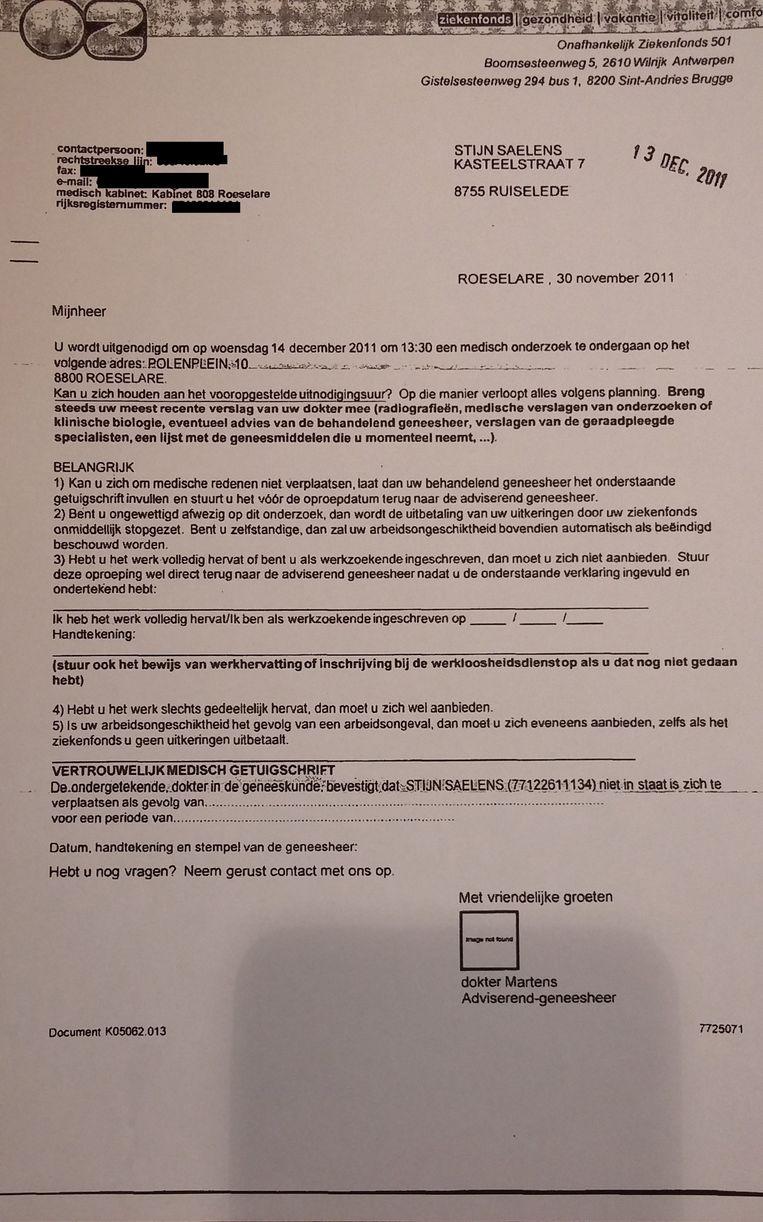 De oproepingsbrief voor een medisch onderzoek. Beeld rv