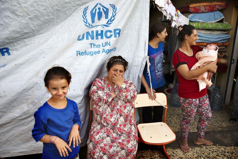 Gevluchte assyrische christenen in Noord-Irak, nadat zij zijn verdreven door leden van de terreurorganisatie Islamitische Staat. Beeld anp