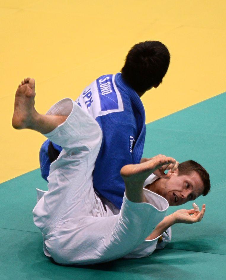 De Japanner Ono won al zijn kampen met ippon, ook tegen Van Tichelt Beeld AFP