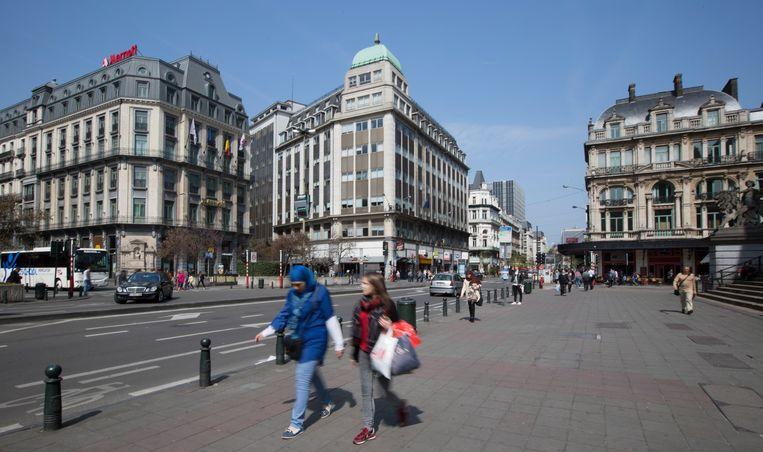 Het Beursplein in Brussel (archiefbeeld). Beeld BELGA