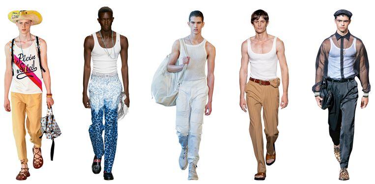 Vanaf links: Lanvin,MSGM, Qasimi, Dries Van Noten, Dolce & Gabbana  Beeld Imaxtree