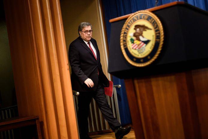De Amerikaanse minister van Justitie William Barr.
