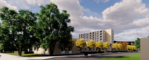 Een artist impression van de nieuwbouw met acht verdiepingen van De Veenkamp in Apeldoorn.