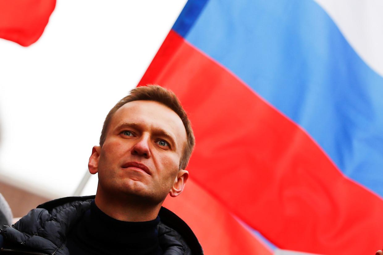 Aleksej Navalny tijdens een mars ter nagedachtenis van voormalig oppositieleider Boris Nemtsov. Beeld Getty Images