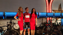 Thijs de Lange met de rode leiderstrui in de Wattmeister Challenge, die hij uiteindelijk net niet won.