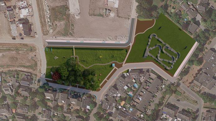 De nieuwe speelplek in Lieshout, aan de Nieuwenhof, met rechts de pumptrack.