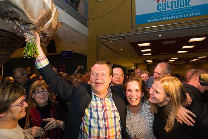 Lijsttrekker Eus Witlox van Team Meierijstad na de bekendmaking van de winst van zijn partij.