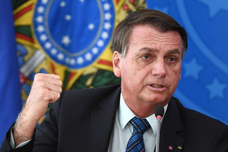 Huidig president Jair Bolsonaro. 'Hij heeft het coronavirus nog steeds niet begrepen', zegt Cardoso.  Beeld AFP